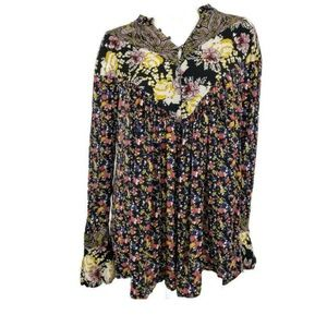 Free People Mini Dress Floral Rayon Bell Sleeves